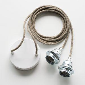 Armatur für zwei Lampen mit nur einem Deckenanschluss braun-natur